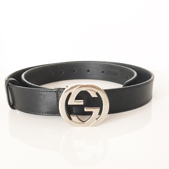 1805e95af Gucci Accessories | Vintage Black Leather Belt Interlocking G | Poshmark
